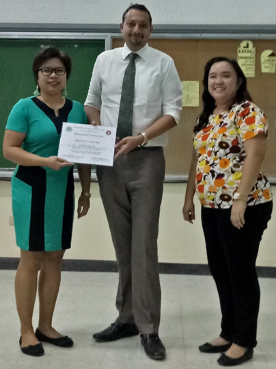 Awarding of plaque of appreciation to Mr. Akesh Agarwal together with Dr. Katherine Ann Castillo-Israel & Dr. Mary Ann O. Torio Photo taken by Loryjane R. dela Cruz