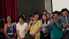 IC Director Dr. Hidelisa P. Hernandez concluded ICare: A Show for a Cause as she cheerfully conveyed her message of thanks in behalf of the whole IC family (Photo courtesy of Dr. TDC Villar)